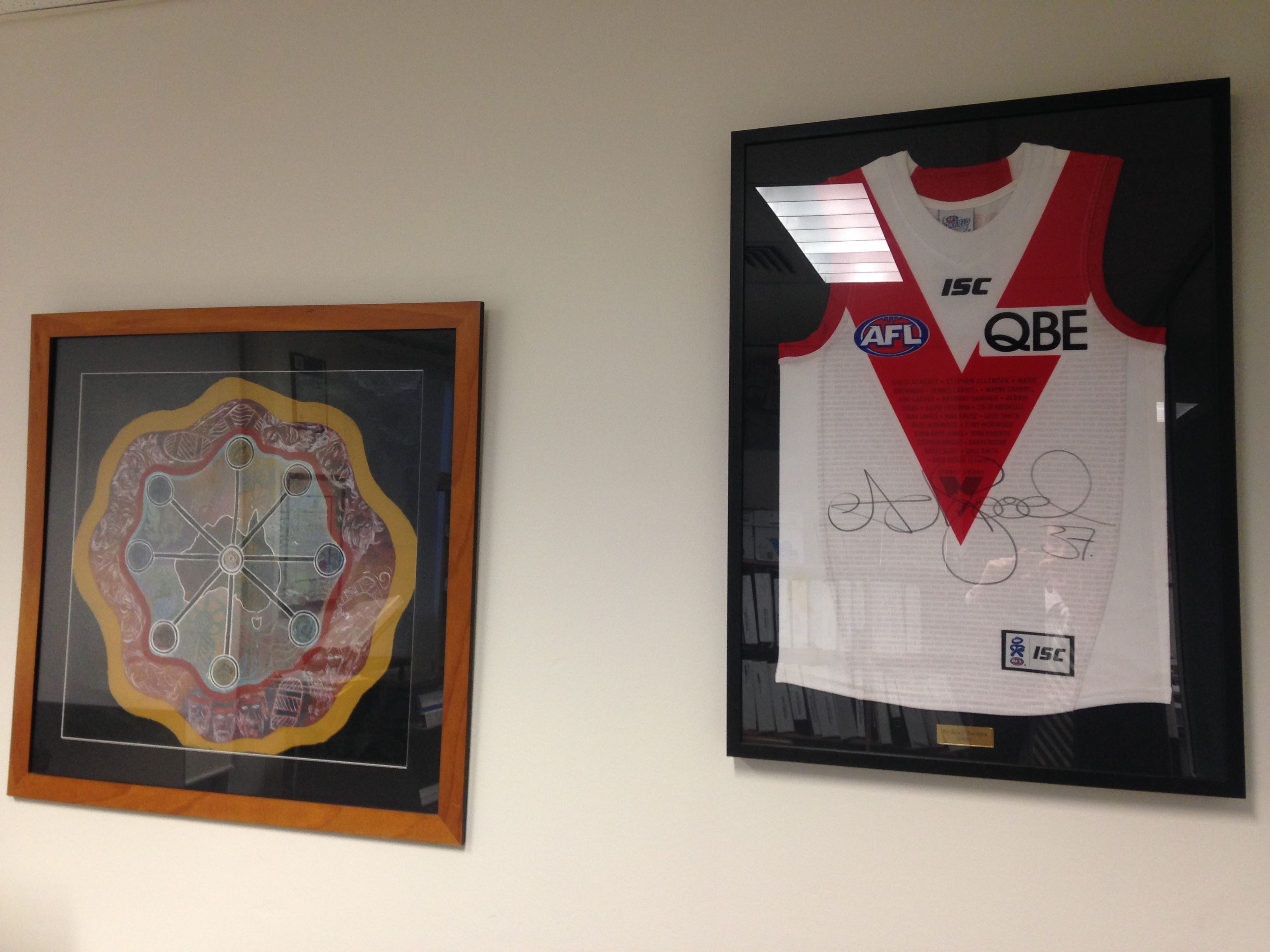 Hanging in our office; Aboriginal artwork and a signed Adam Goodes jersey