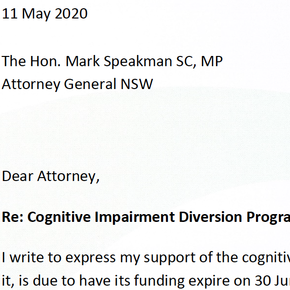 Cognitive Impairment Diversion Program- a letter of appeal to the Minister CIDP