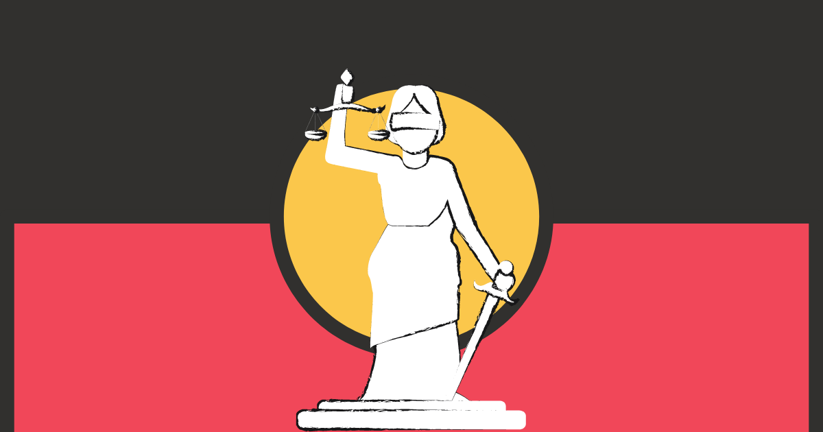 Lady Justice in front of Aboriginal flag
