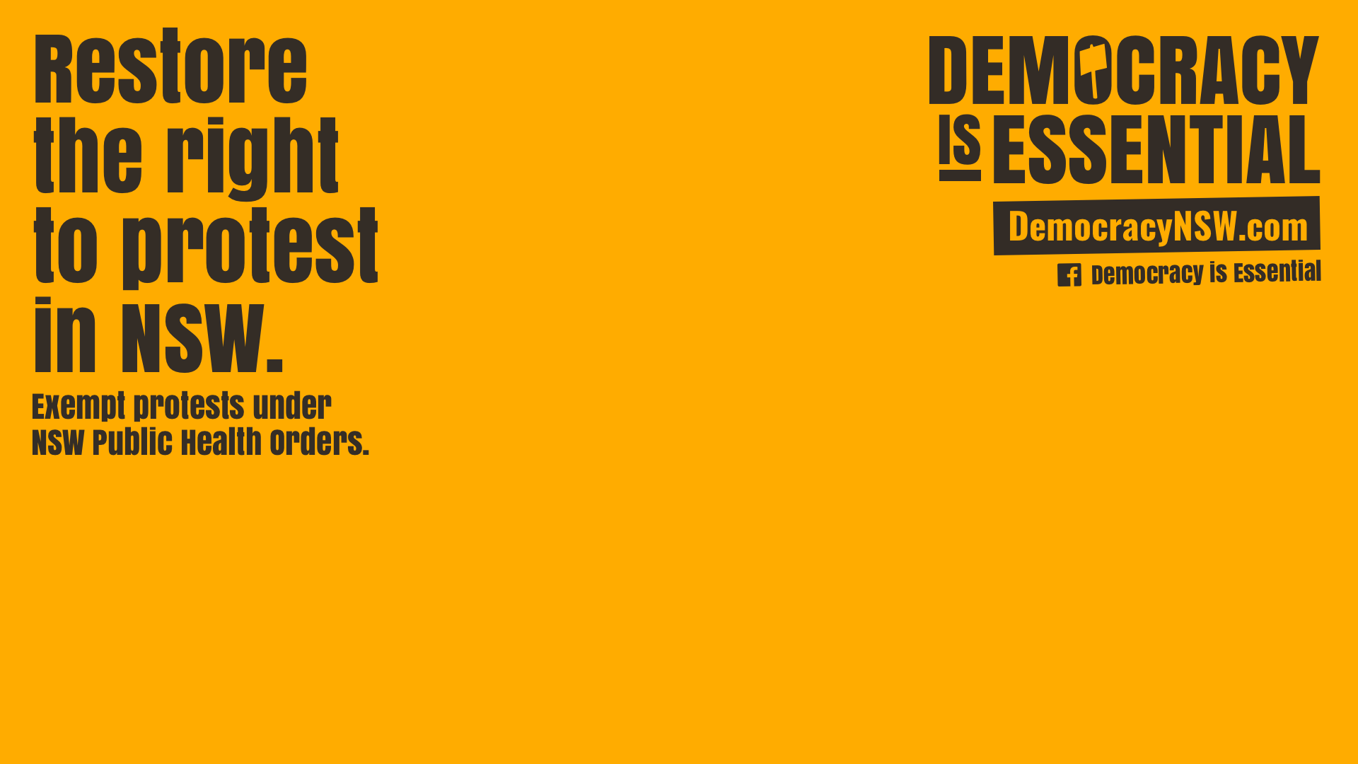 Restore the right to protest poster: Democracy is Essential