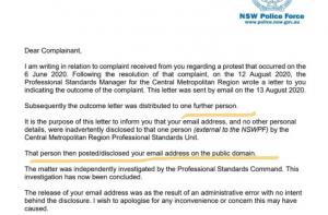 Police letter blaming email leak