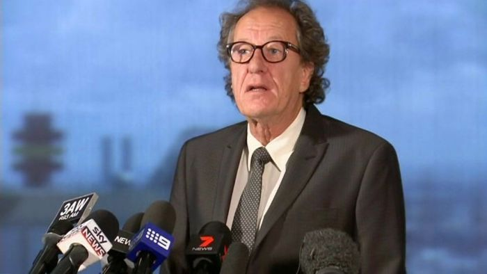Geoffrey Rush discussing his defamation action