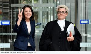 Client Esther Rockett (left) leaving the Supreme Court in Sydney