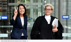 Client Esther Rockett (left) leaving the Supreme Court in Sydney