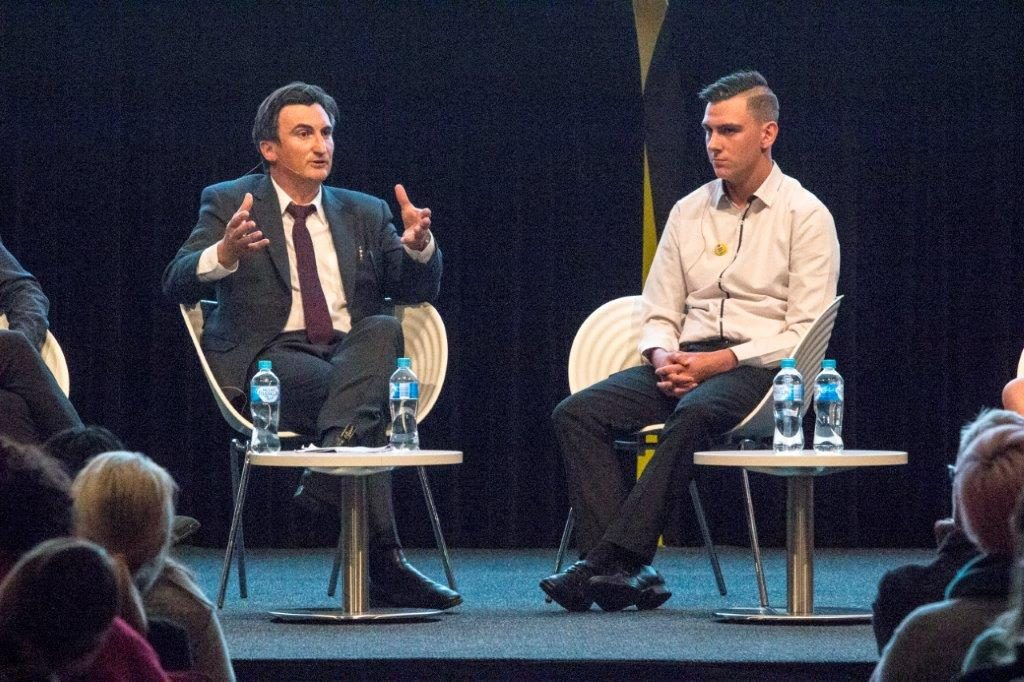 Peter O'Brien and Dylan Voller speaking at the SBS forum on juvenile justice