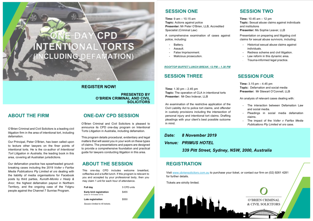 Brochure for intentional torts and defamation CPD