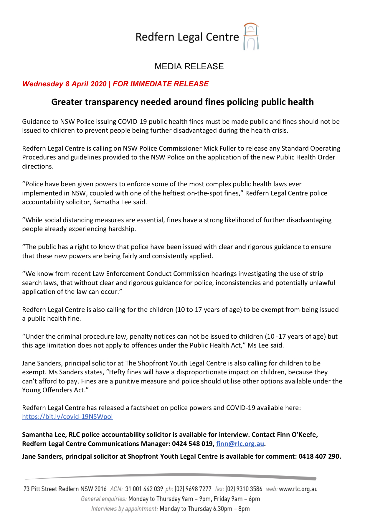 Redfern Legal Centre - Media Release: Greater transparency needed around fines policing public health