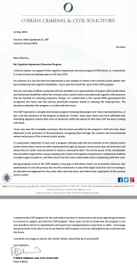 Cognitive Impairment Diversion Program- a letter of appeal to the Minister
