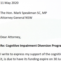 Cognitive Impairment Diversion Program - a letter of appeal to the Minister CIDP