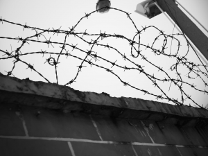barbed wire in prison