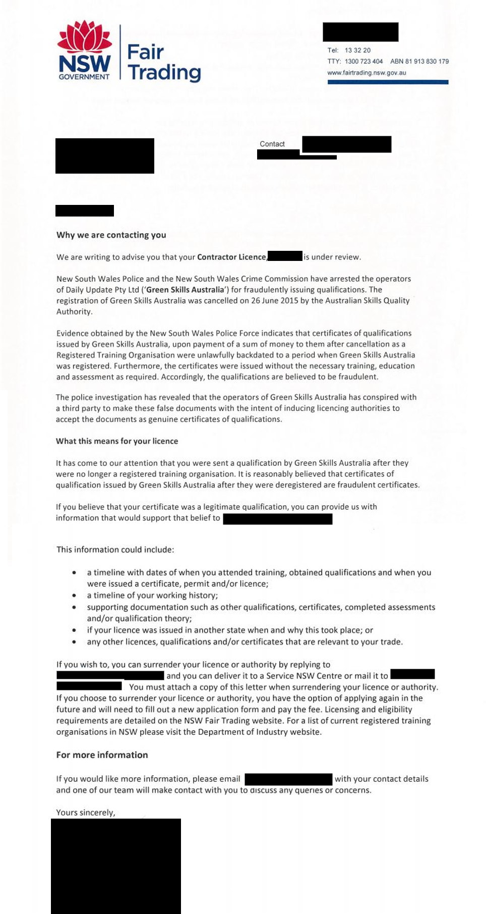 letter from NSW Department of Fair Trading about Contractor's Licence from Green Skills Australia