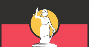Aboriginal flag with lady justice