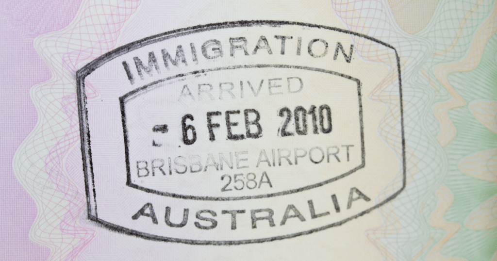Immigration arrival visa stamp Brisbane Airport