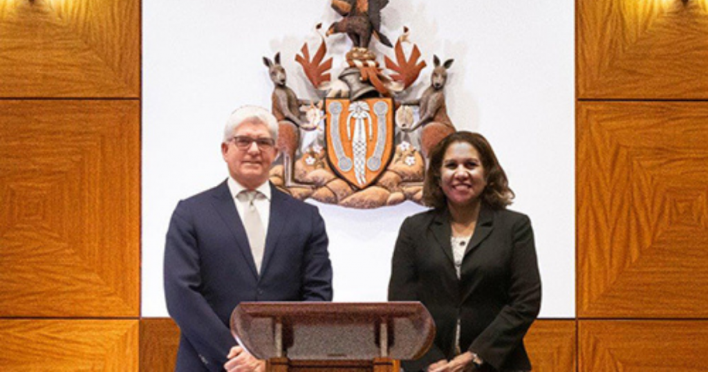 Chief Justice of the Supreme Court of NT with Aboriginal Justice Unit director Leanne Liddle