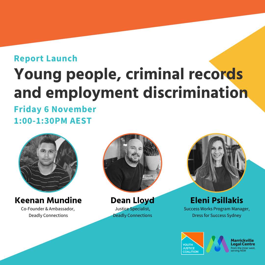 Marrickville Legal Centre is hosting a free webinar on young people, criminal records and employment discrimination.