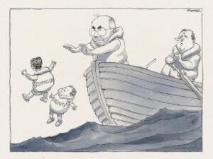 Political Cartoon from the 2001 Children Overboard incident featuring John Howard. Artist: John Spooner