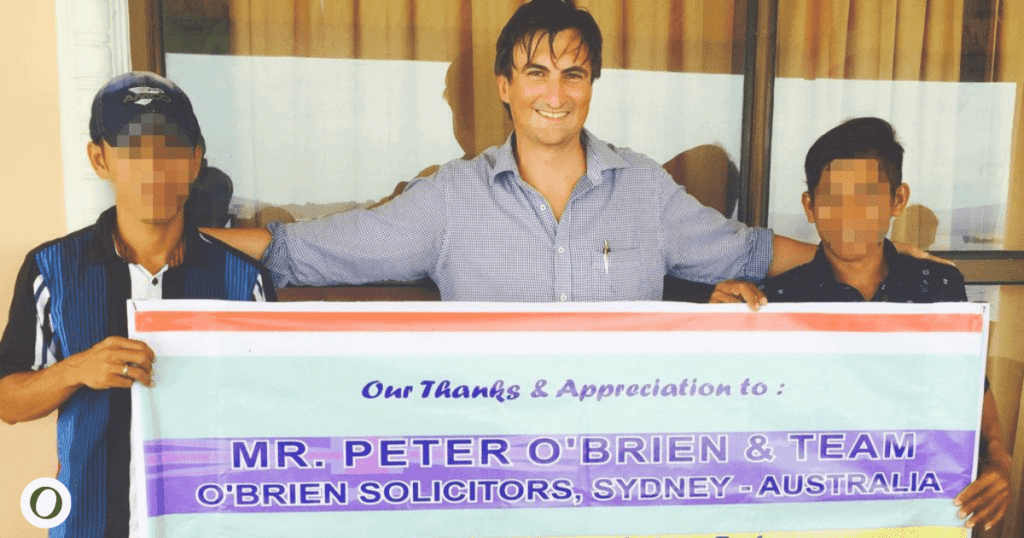 Peter O'Brien in Indonesia with boys illegally imprisoned by Australian Federal Police (AFP)
