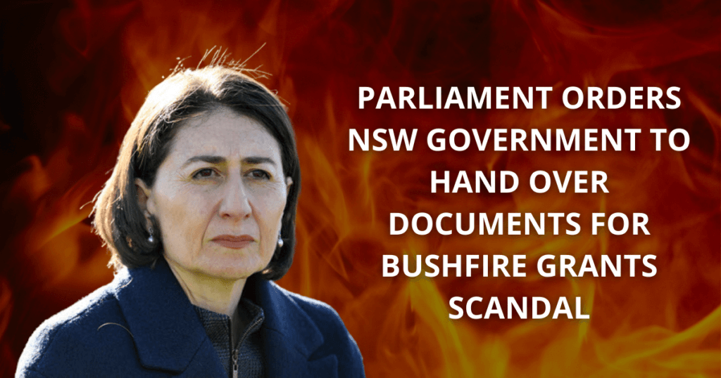 Parliament orders NSW Government to hand over documents for bushfire grants scandal