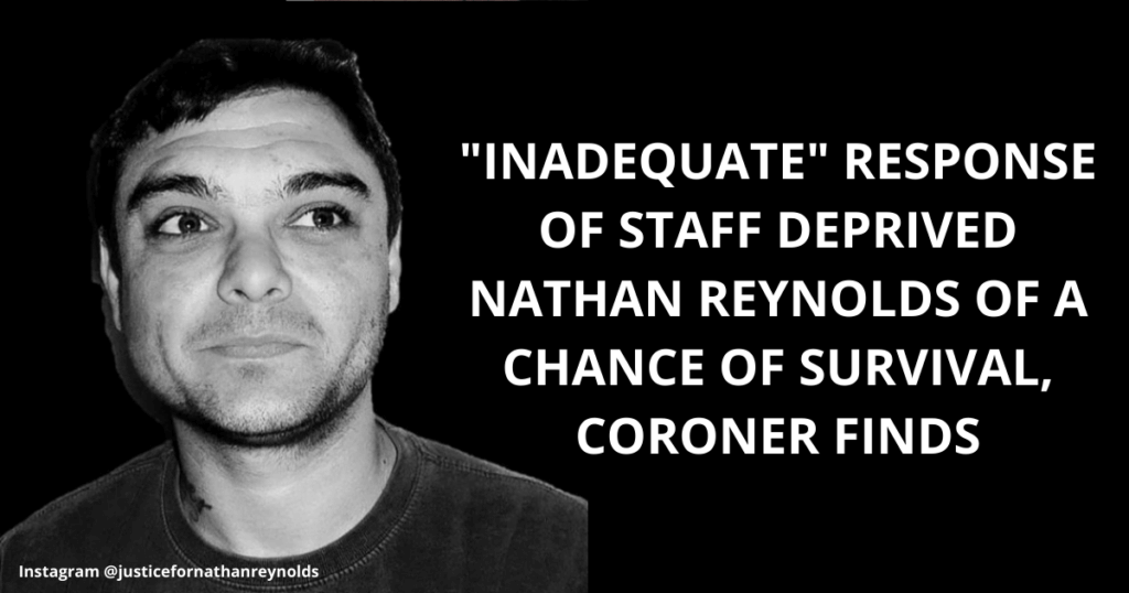 Coroner: Inadequate response of prison staff deprived Nathan Reynolds of a chance of survival