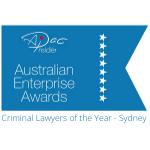 Criminal lawyer of the year Sydney. Australian Enterprise Awards