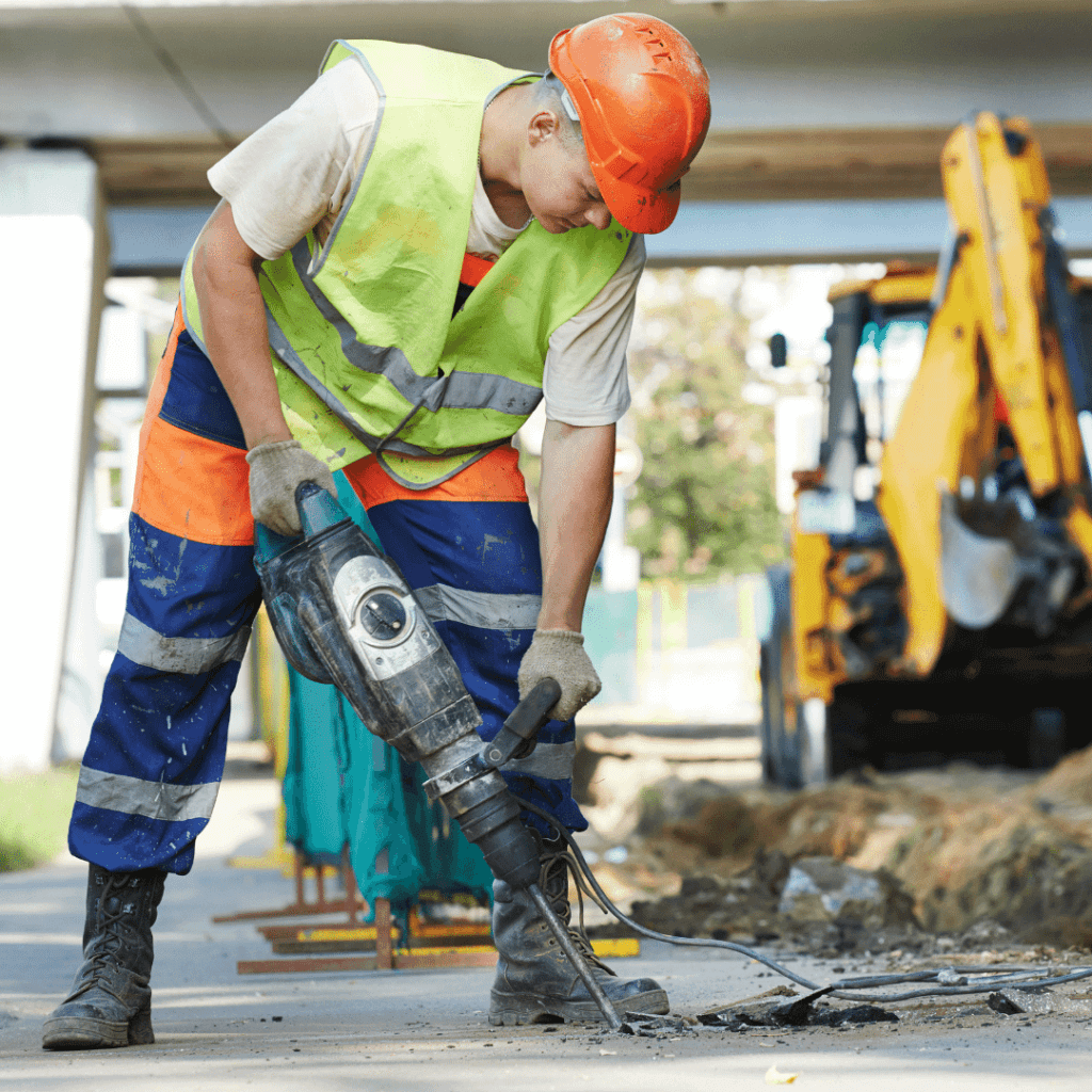 worker using jackhammer may inhale deadly disease causing dust