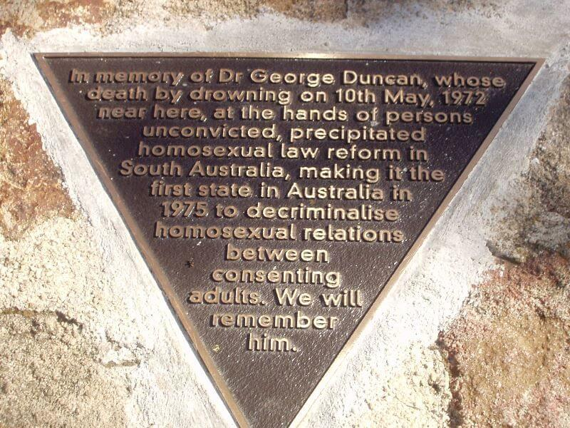 George Duncan, Adelaide law lecturer, commemorated in plaque in Adelaide noting homosexual law reform in his memory