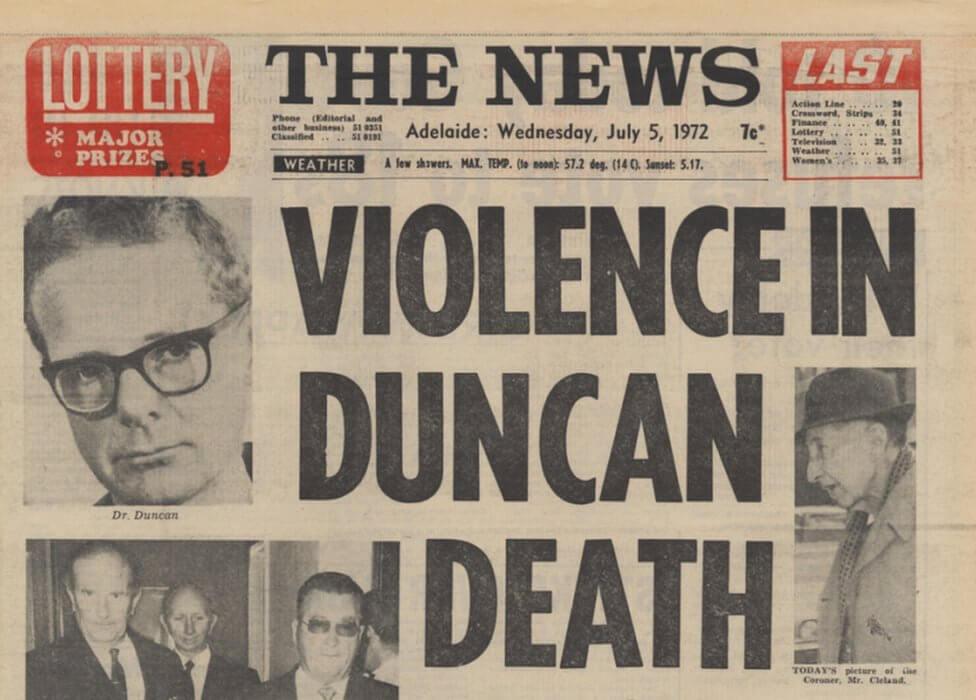 Adelaide newspaper headline: Violence in George Duncan death