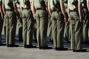 defence force personnel on parade