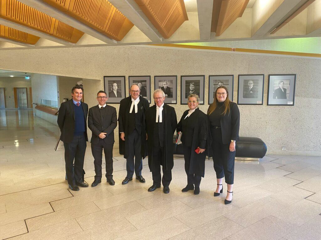 Dylan Voller's defamation legal team (L-R: Solicitor Peter O'Brien, Solicitor Stewart O'Connell, Barrister Richard Potter SC, Barrister Peter Gray SC, Barrister Louise Goodchild, Solicitor Sarah Gore)