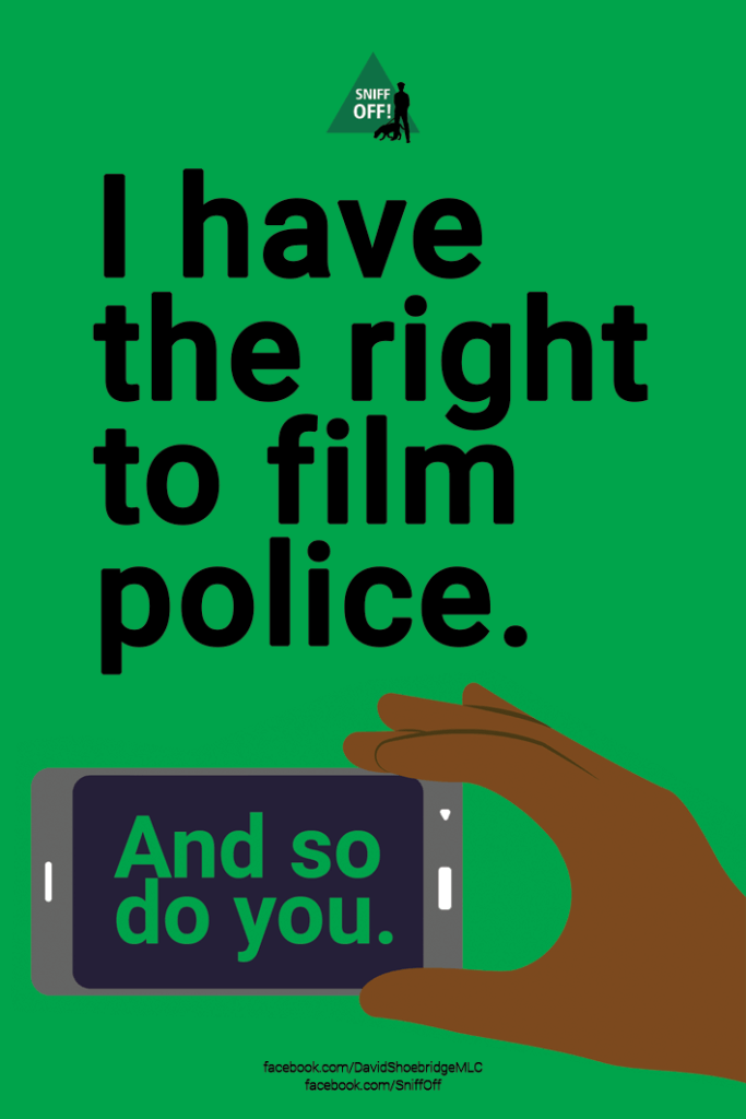 I have the right to film the police Stickers by David Shoebridge MLC