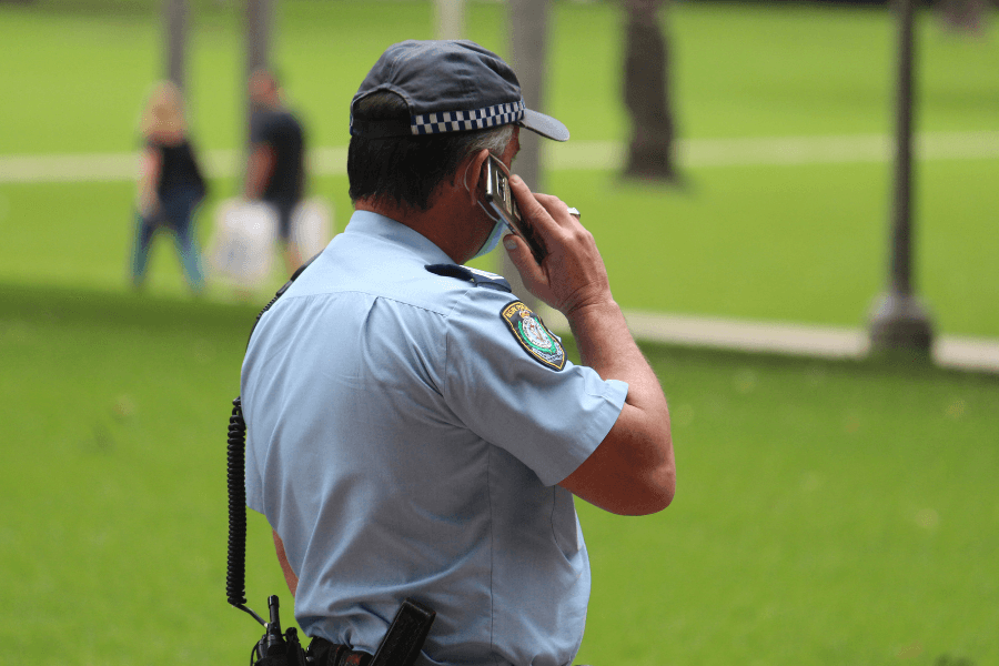 NSW Police officer on phone