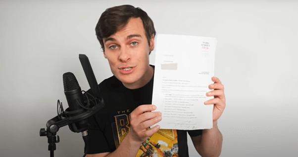 "YouTuber Jordan Shanks, aka ""FriendlyJordies"", displaying the statement of claim in his defamation matter"