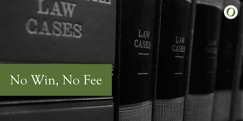 No Win, No Fee with background of legal books