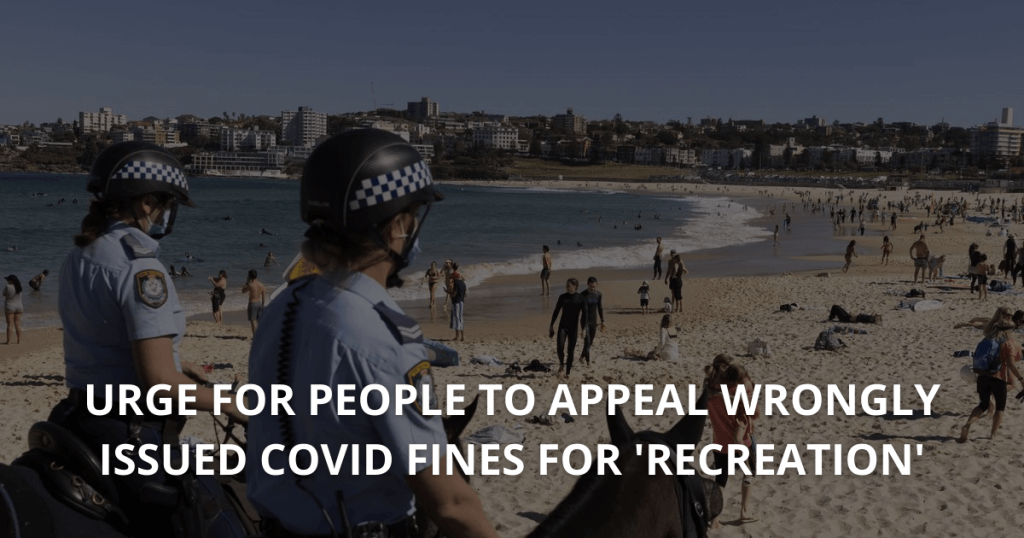 Urge for people to appeal wrongly issued COVID fines for 'recreation'