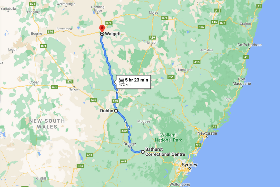 The man left Bathurst Correctional Centre and headed to his home town of Walgett, stopping in Dubbo along the way.