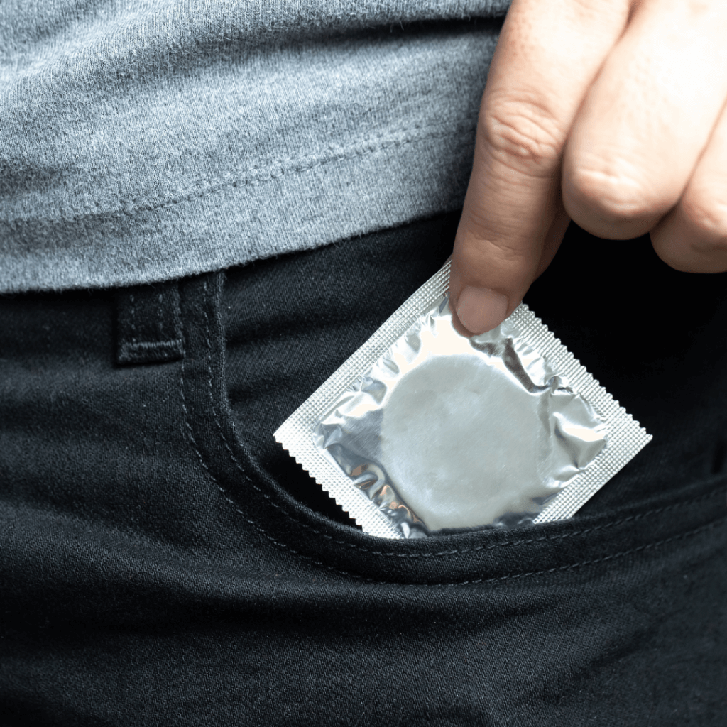 condom in a pocket if used correctly there is no stealthing